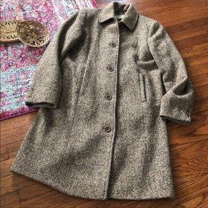 LL bean tan wool blend tweed coat